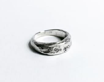 handmade silver diamond ring
