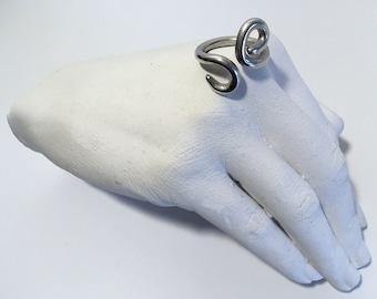 Handmade sterling silver curl ring