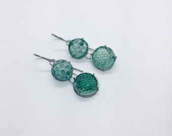hand made earrings with cut 17th century Roemer glass