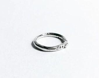 handmade rocky sterling silver diamond ring