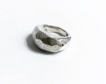 handmade sterling silver rough facetted ring
