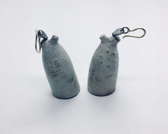 17th century ceramic 14k gold and sterling silver earrings