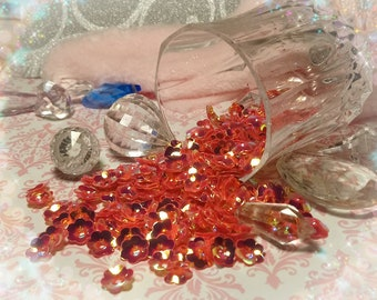 4f5732ee333 Hot Red Holographic Flower Sequins - Decoden supplies kawaii supply