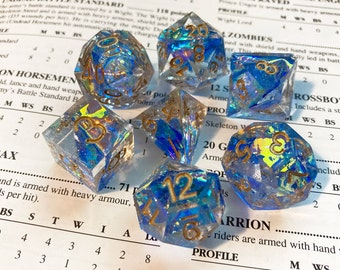 Sapphire Ribbon Dice Set - Prismatic Holographic Clear Resin with Blue Material Sharp Edge Dice Gems D&D Accessory Handmade B GRADE
