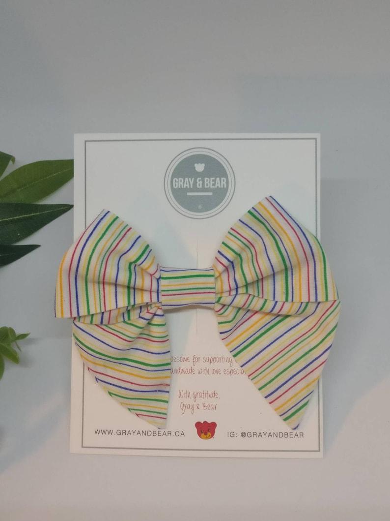 Rainbow Stripes Large Handmade Sailor Bow Bow Headband
