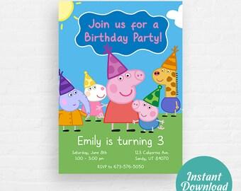 Peppa Pig Birthday Invitation, Peppa Pig Invitation, Peppa & George Pig Invite | Editable Instant Download