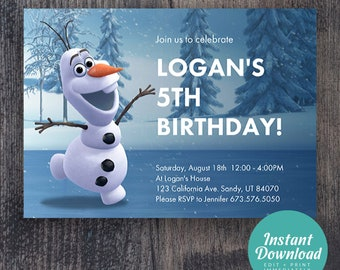 photo invitation printable Olaf PERSONALIZED Olaf Frozen Snowman Birthday Party Invitation with photo Printable 50/% off