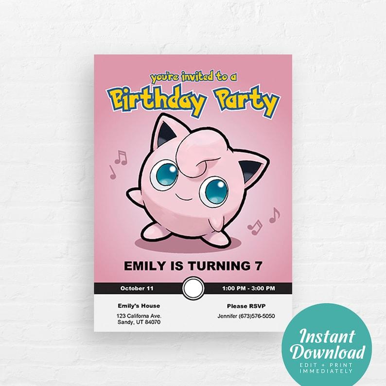 Pokemon Birthday Invitation Jigglypuff Invite