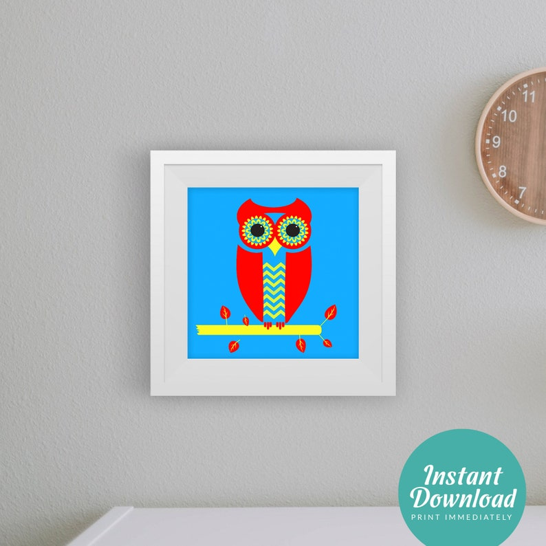 Owl Wall Art Red/Blue Kids room art Nursery art Childrens   Etsy