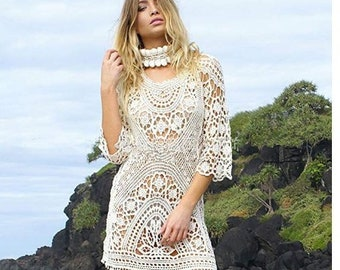 95a5cf4e25a sexy Saida De Praia Beach Cover Up Pareo Playa Coverup Dress Vestido Livre  Swimsuit Wear Swimwear White Lace Women Beachwear
