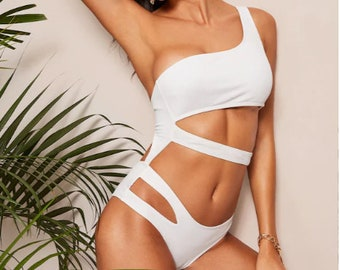767d72a10d619 Swimwear Women 2019 New One Piece Solid Swimsuit Sexy High Cut Monokini  Hollow Out Biquini One Shoulder Bathing Suit One Piece Swimwear