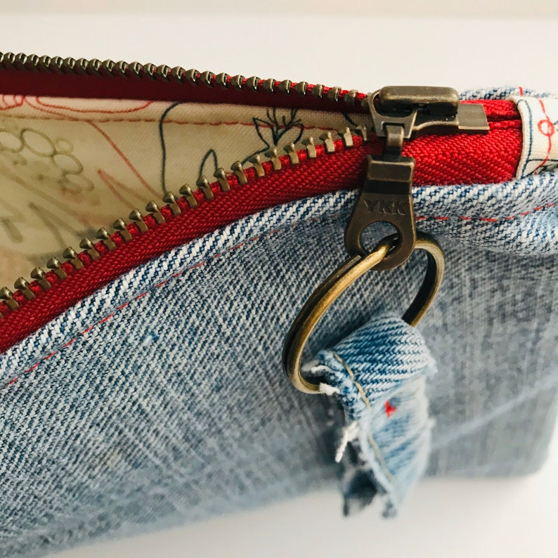 Upcycled Denim Zipper Pouch w Retro Christmas Sweaters Lining Fabric