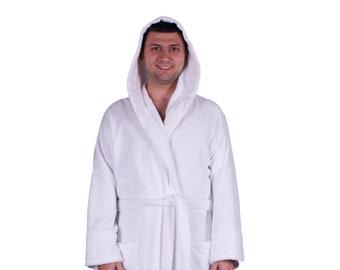7ebc249323 Luxury Terry Turkish Cotton Hooded Bathrobe