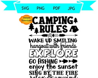Camping Rules Svg Etsy
