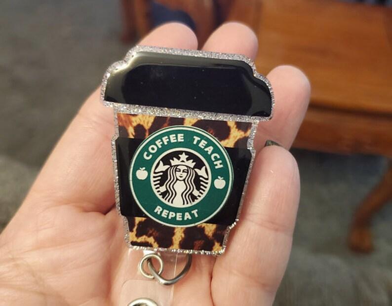 Leopard Starbucks teacher badge reelteacher gift teacher image 0