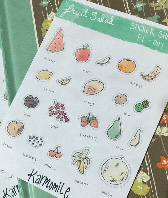 Fruit planner stickers, fruit salad, meal planning, fruit illustrations,  fruit stickers, bullet journal, apple, watermelon, orange