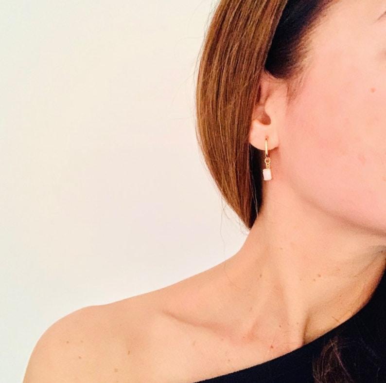 Birthstone Earrings Gemstone Earrings Rose Quartz Charm Hoop Earrings Free Shipping Small Gold Charm Earrings Dainty Birthstone Jewelry