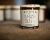 Pumpkin Soufflé Fall Scents All Natural Soy Candle Pumpkin Hand Poured Small Batch Wood Lid Amber Jar Cotton Wick