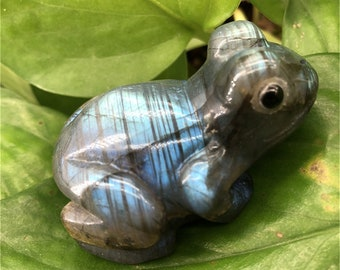 Top Quality 35g Hand Carved Labradorite Lucky Frog  Toad on Lilly pad Crystal Carving Madagascar Item:L18030