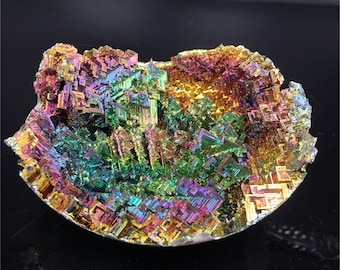 1.25LB Rainbow Bismuth Ore Geode Crystal Quartz Titanium Mineral Bowl,Home Decoration,Crystal healing,Crystal Collection,Mineral Samples