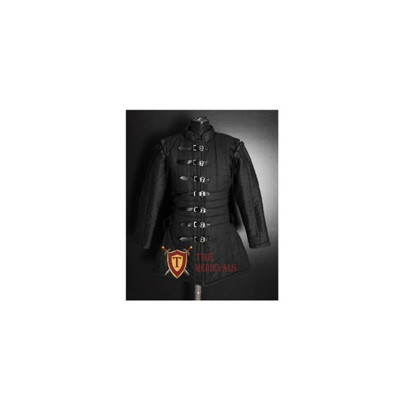 Red Color Costumes The Medieval Shop Thick Padded Ladies Full Length Gambeson Coat Aketon Jacket Armor