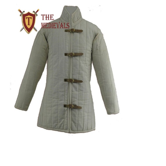 Souvenir India Medieval Gambeson Thick Padded Coat Aketon Jacket Armor Black Cotton Fabrics