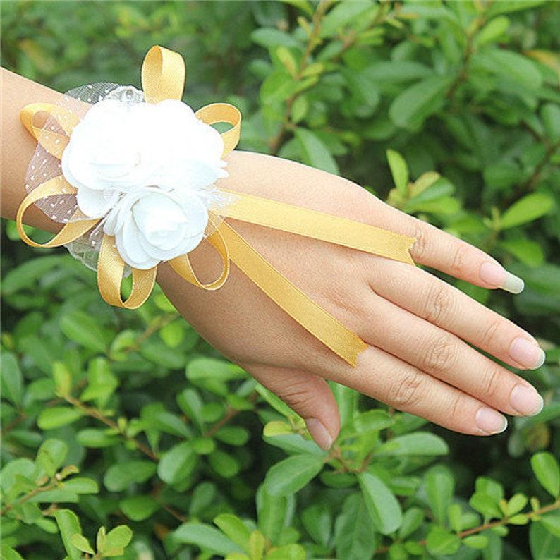 10piecelot Most Popular PE Flowers Corsage Wedding Wrist Band Boutonniere Custom Made White 3 Rose Ribbon Wrist Flowers