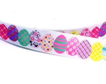 7//8 INCH COLORFUL EASTER BUNNY OWL ON WHITE GROSGRAIN RIBBON-1 YARD