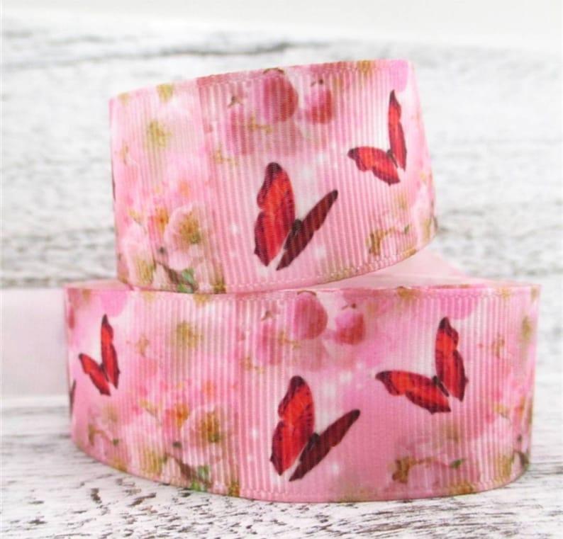 1 Butterfly grosgrain ribbon Pink Butterfly Fields