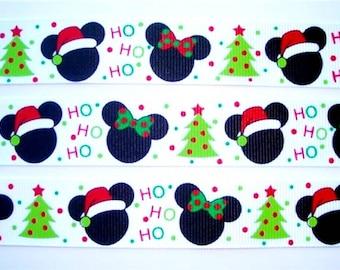 "7/8"" Christmas Mickey Mouse and Minnie Mouse Ho Ho Ho Holiday Grosgrain Ribbon."