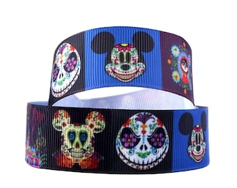 """7/8"""" Mickey Mouse Sugar Skull Ribbon. Mickey Mouse and Jack Skellington Sugar Skull Ribbon. Mickey Mouse Day of the Dead."""