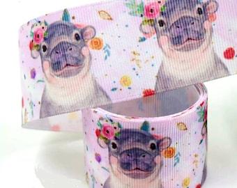 "1.5"" Cutest Baby Hippo Ribbon. Baby Hippo with Flower Bows. Hippo Baby Shower. Diaper Cake Ribbon. Baby Party Theme. Nursery Room Theme"