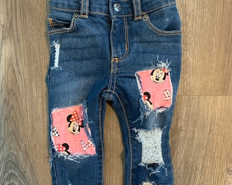 Minnie Mouse Jean vest Minnie Mouse Jean jacket distressed jean jacket distressed vest Minnie Mouse birthday party distressed denim