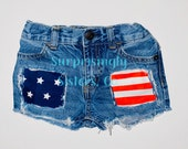 Shorts Distressed Patched Baby Toddler Kids 4th of July USA American Flag