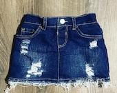Infant Toddler Distressed Jean Mini Skirt
