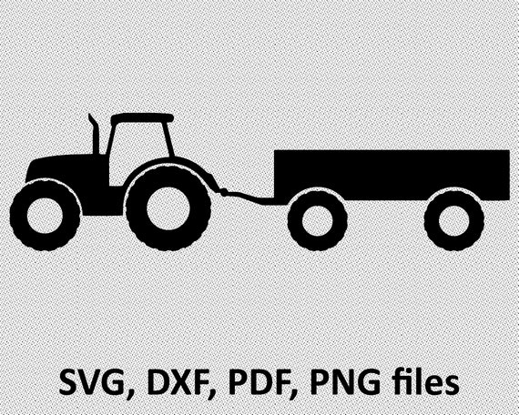 Farm Tractor Trailer Svg Cut File Jpg Dxf For Cameo Etsy