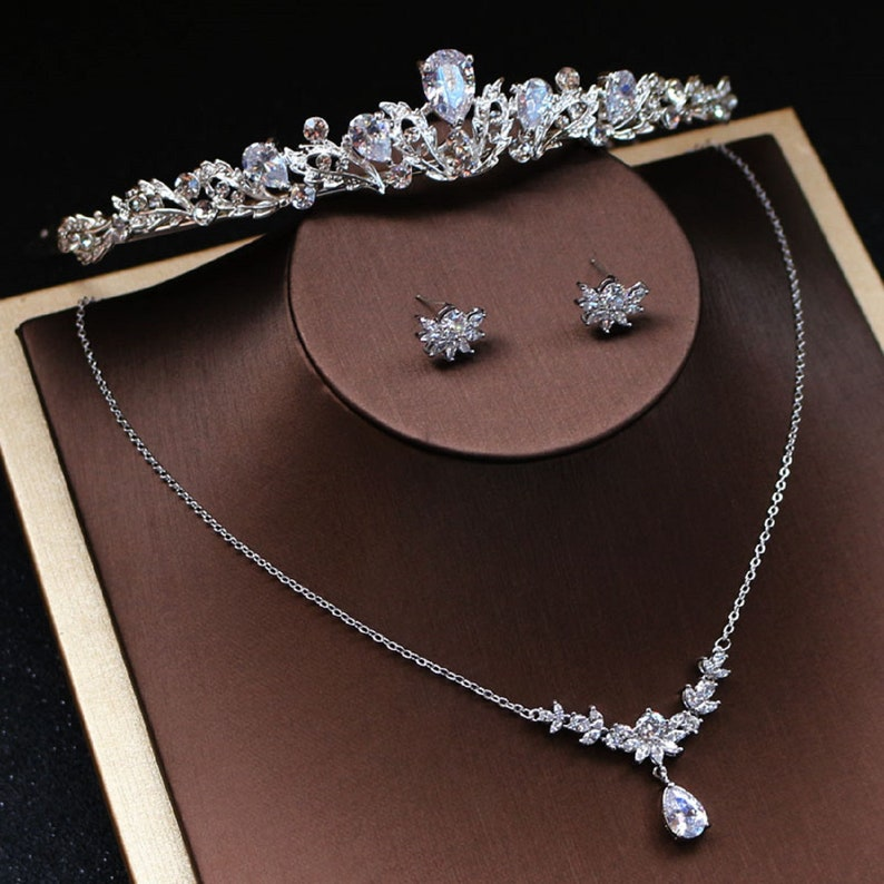 Cubic floral teardrop Bridal set  Crystal necklace earrings and headband Wedding jewelryBride maid accessories silver sparkling