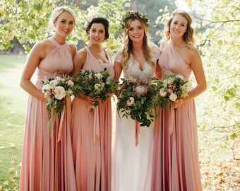ddb080845e26f Long Blush Pink Bridesmaid Dress Convertible Bridesmaid Dress Multiway Wrap  Dress Maternity Dress Infinity Bridesmaid Dress Evening Gown