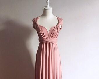 b6aacb378ca8f Dusty Rose Infinity Bridesmaid Dress Multi-way Bridesmaid Dress Convertible  Bridesmaid Dress Formal Evening Dress Plus Size Bridesmaid Dress