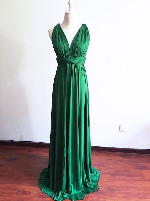Long/Short Emerald Green Infinity Bridesmaid Dress Convertible Bridesmaid  Dress Multi-way Dress Maternity Dress Long Evening Dress Plus Size