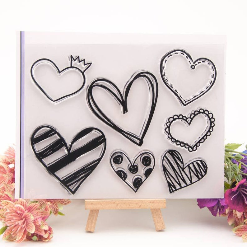 Love heart transparent clear silicone stamp paper craft scrapbooking card decor.