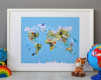 Children's Illustrated World Map (400mm x 500mm), Kid's Map of the World Wall Print, Animal World Map for Playroom Decor, Poster, Prints