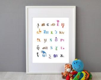 Children's Animal Alphabet Print - Learn the ABC