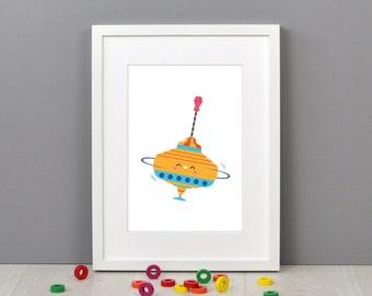 Spinning Top Children's Print (21 x 30cm)