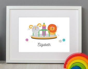 Personalised Children's Roundabout Print (30 x 21cm)