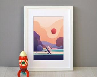 Robot & Balloon Children's Print