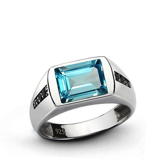 Mens Ring RED RUBY and Natural Black Onyx Accents in SOLID 925 Sterling Silver