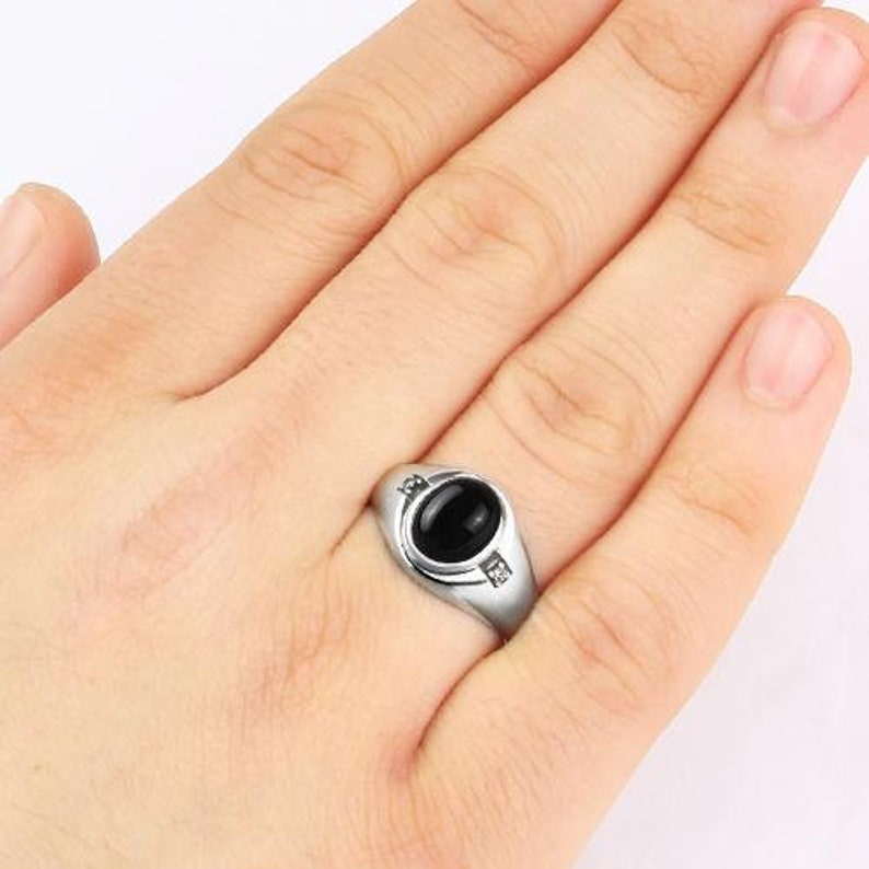 Man Silver Ring with Stone Black Stone Ring Man Onyx Ring with 2 DIAMOND Accents in Solid 925 Sterling Silver