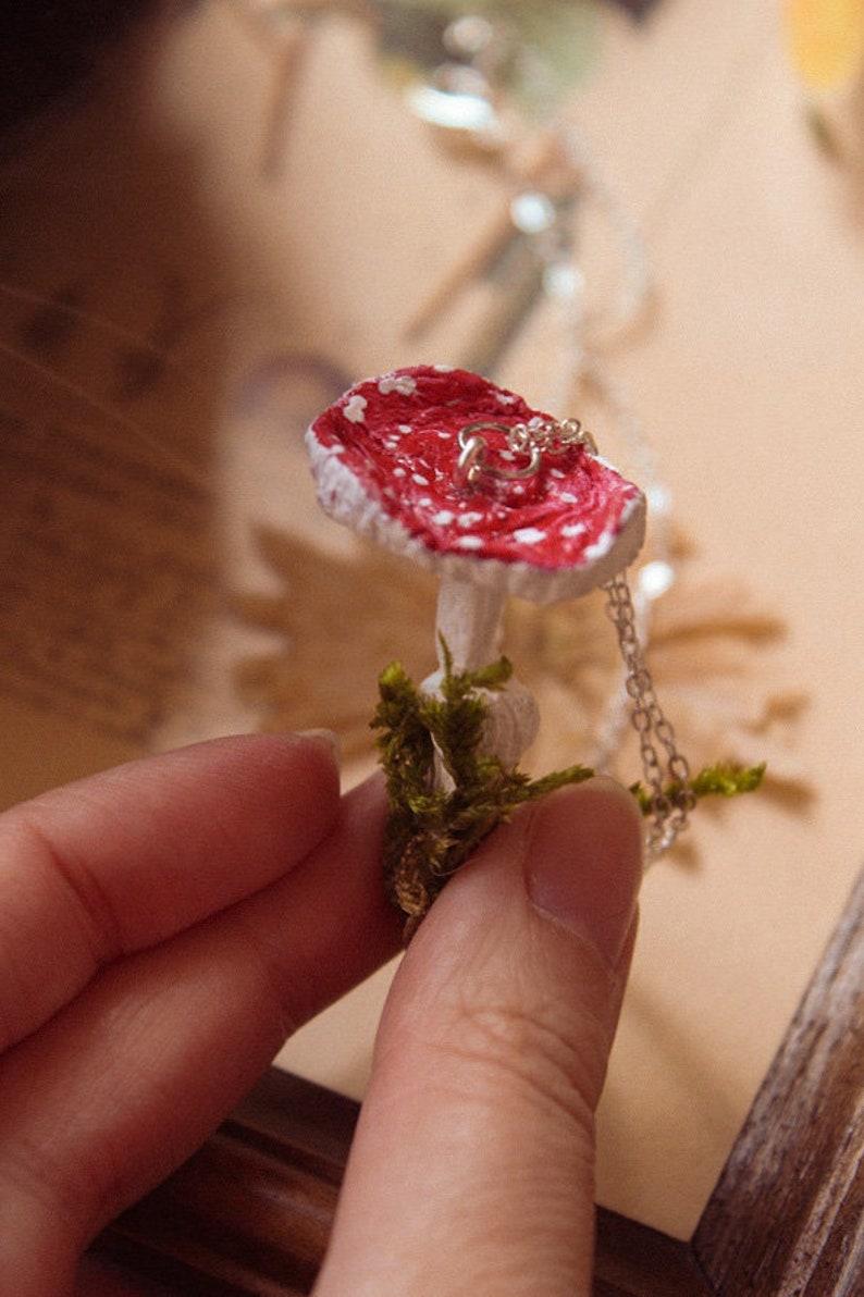 mossy mushroom handmade necklace handmade clay