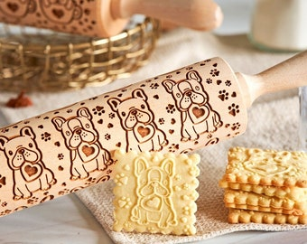 Roller with Your Patter American Eskimo Dog Small Rolling Pin for Cookies with Dog/'s Head Engraved Rolling-pin Embossing Rolling Pin